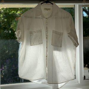 Madewell White Button Down Shirt, Women's Size M